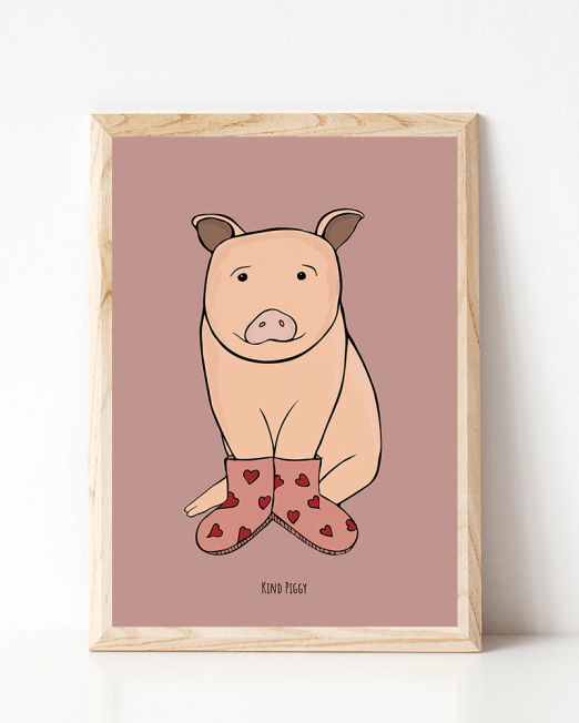 A4_wood frame mockup_piggy kind